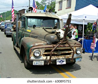 """Irvine, Ky US - April 29, 2017 Mountain Mushroom Festival A """"Hillbilly Truck"""" driving in the parade"""