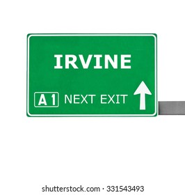 IRVINE road sign isolated on white