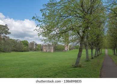 Irvine, Scotland, UK - April 29, 2019: Ancient Ruins at Eglinton Castle  Irvine North Ayrshire Scotland at the start of summer a popular local attraction in Scotland