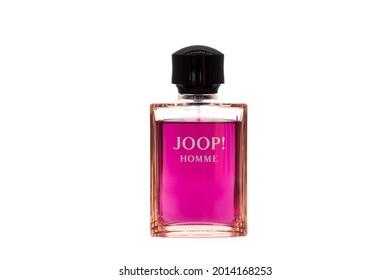 IRVINE, UNITED KINGDOM - Jul 11, 2021: A bottle of the popular Joop Homme gents after shave fragrance with spray applicator