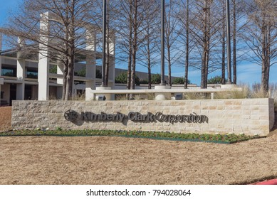 IRVING, TX, USA-JAN 14, 2018: Visitor entrance to world headquarter of Kimberly-Clark. American multinational personal care corporation produces paper-based consumer product as Kleenex, Huggies, Kotex