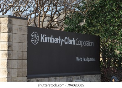 IRVING, TX, USA-JAN 14, 2018: Main entrance to world headquarters of Kimberly-Clark. American multinational personal care corporation produces paper-based consumer product as Kleenex, Huggies, Kotex