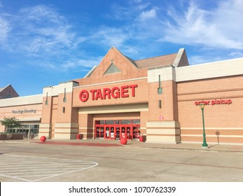 IRVING, TX, US-APR 17, 2018:Facade, exterior view Target entrance. The second-largest discount store retailer in the United States, behind Walmart, chain offering home goods, clothing, electronics