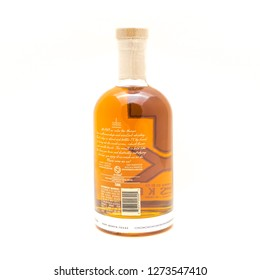 IRVING, TX, US-DEC 31, 2018:Studio shot a TX Blended Whiskey bottle isolated on white background. American blended whiskey from Firestone & Robertson Distilling Co. in Fort Worth, Texas, America