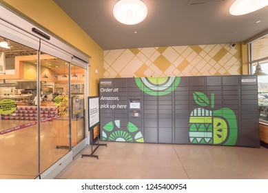 IRVING, TX, US-NOV 30, 2018: Amazon Locker service at the entrance of Whole Foods store. A self-service delivery location to pick up and return Amazon.com packages
