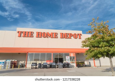 IRVING, TX, US-OCT 30, 2018:Home Depot exterior storefront with autumn leaves color. A home improvement supply superstore, big-box that sells hardwares, construction products, tool rental services