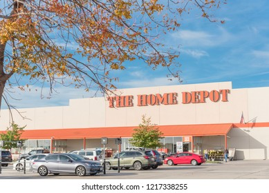 IRVING, TX, US-OCT 30, 2018:Home Depot exterior storefront from outdoor parking lots. A home improvement supply superstore, big-box that sells hardwares, construction products, tool rental services