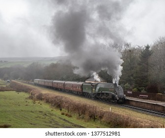 irwell Vale/Lancashire/UK - 12/28/2018:Union of South Africa approaches Irwell Vale Station