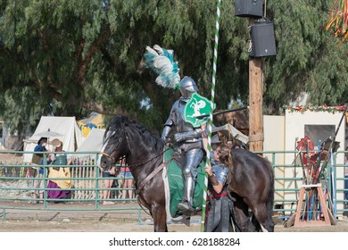 Irwindale, CA - USA - April 23, 2017: Participant in armor performing during The 55th Annual Renaissance Pleasure Faire.