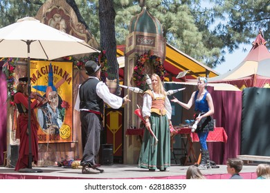 Irwindale, CA - USA - April 23, 2017: Magician juggler performing during The 55th Annual Renaissance Pleasure Faire.