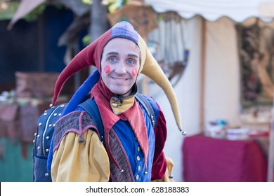 Irwindale, CA - USA - April 23, 2017: Man in a medieval jester costum during The 55th Annual Renaissance Pleasure Faire.