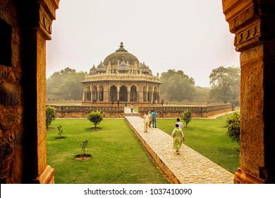 Isa Khan Niyazi's Tomb at Humayun's Tomb, Delhi, India, 2016. A Landscape view of Isa Khan Niyazi's Tomb inside Humayun's tomb which is a World Heritage architecture, situated in Delhi, India.