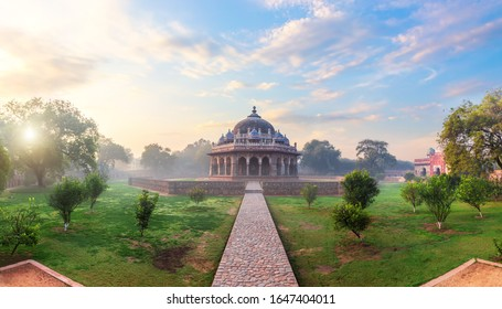 Isa Khan's tomb in the Humayun's Tomb complex in Delhi, India, sunrise panorama