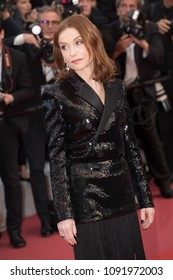 Isabelle Huppert  attends the screening of 'Sink Or Swim (Le Grand Bain)' during the 71st annual Cannes Film Festival at Palais des Festivals on May 13, 2018 in Cannes, France.