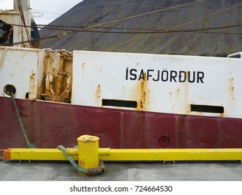 ISAFJORDUR, ICELAND - SEPTEMBER 28, 2017: The stern trawler Isborg IS-250 moored at the harbor of its home port of Isafjordur, located in the Icelandic westfjords.