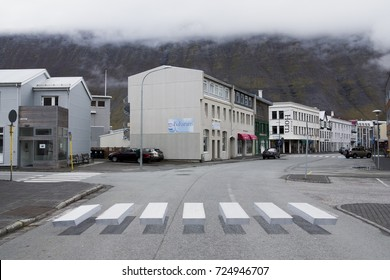 ISAFJORDUR, ICELAND - SEPTEMBER 30, 2017: An innovative pedestrian crossing in the town of Isafjordur in western Iceland has employed an optical 3D effect, hoping to further attract drivers attention.