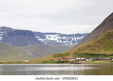 Isafjordur Landscape.  A view towards the housing district of Holtahverfi in the port of Isafjordur, Northern Iceland.