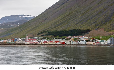 Isafjordur town seen from sea