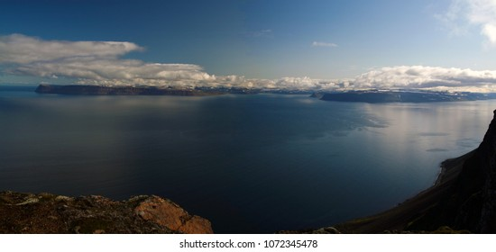Isafjordur in Westfjords, Iceland. Landscape image taken from Latrar Air Station viewpoint in summer 2009, during a road trip.