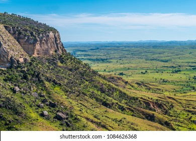 Isalo National Park  in the Ihorombe Region of Madagascar. Known for its wide variety of terrain, including sandstone formations, deep canyons, a palm-lined oases, and grassland, and rich wildlife