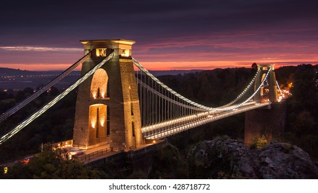 Isambard Kingdom Brunel's 19th century Clifton Suspension Bridge across the Avon Gorge in Bristol, England.