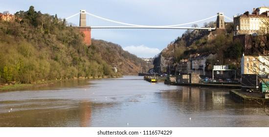 Isambard Kingdom Brunel's Clifton Suspension Bridge over the Avon Gorge, Bristol, England, UK.