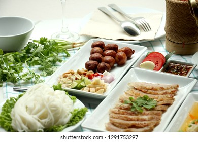 Isan sausage, popular Thai food Delicious, made from pork as appetizer or as a staple food, good every time
