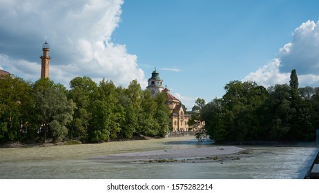 Isar river in central Munich, Germany