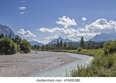 Isar riverbed with Karwendel mountains and Arnspitze