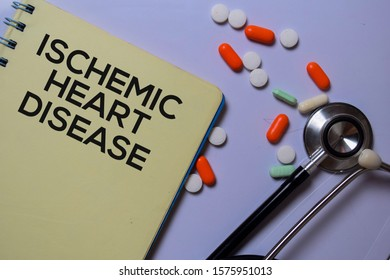 Ischemic Heart Disease write on a book isolated on white board background. Medical Concept
