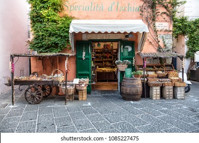 Ischia, Gulf of Naples, Campania Region, Italy, August 10, 2017: View of a traditional grocery store in the city of Ischia