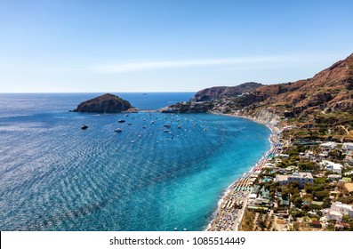 Ischia, Gulf of Naples, Campania Region, Italy, August 13, 2017: View of San Angelo, Ischia