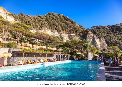 Ischia, Gulf of Naples, Campania region, Italy, 11th of August 2017: swimming pool of Poseidon's Therme