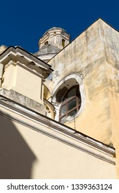 Ischia Island, Naples - Italy: The baroque facade of the cathedral of Santa Maria Assunta in Ischia Ponte, a monumental church of Ischia founded in 1388