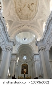 Ischia Island, Naples, Italy - February 17, 2019: the interiors of the baroque cathedral of Santa Maria Assunta in Ischia Ponte, a monumental church of Ischia founded in 1388