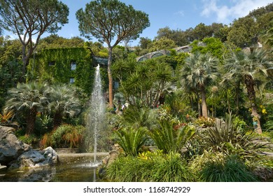"""Ischia Island, Naples, Italy - May 2, 2009: """"La Mortella"""" at Sir William Walton mansion a subtropical and mediterranean botanical garden designed by architect Russell Page."""