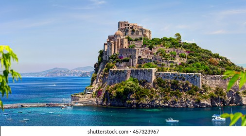 ISCHIA, ITALY - 08 JUNE 2012: The Aragonese Castle is the most impressive historical monument in Ischia, built by Hiero I  in 474 BC. In 1912 Castle was sold to a private owner. Ischia island, Italy.