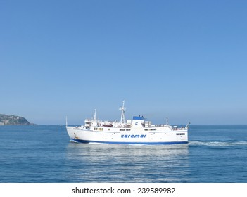 ISCHIA, ITALY - APRIL 24, 2014 A ferry which connects the city of Naples with the Italian island of Ischia. Ferry boats are the only public transportation from the Italian mainland to Ischia.