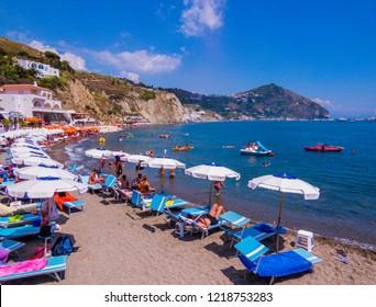 ISCHIA, ITALY - AUGUST 16, 2018: Maronti Beach on the Island of Ischia.
