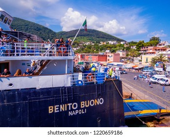 ISCHIA, ITALY - AUGUST 17, 2018: View of the port of the Island of Ischia, Gulf of Naples.