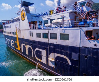 ISCHIA, ITALY - AUGUST 17, 2018: Medmar ferry boat on the port of the Island of Ischia on the Gulf of Naples.