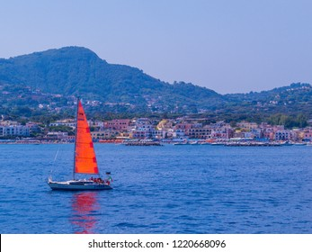 ISCHIA, ITALY - AUGUST 17, 2018: View of the Island of Ischia on the Gulf of Naples.