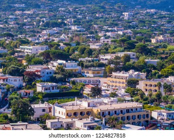 ISCHIA, ITALY - AUGUST 17, 2018: Aerial view of Forio on the Island of Ischia.