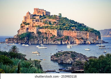 ISCHIA, ITALY - AUGUST, 21: Aragonese castle at sunset, August 21, 2009