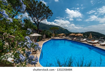 Ischia, Italy - July 8, 2018: Swimming pool of the hotel San Montano.