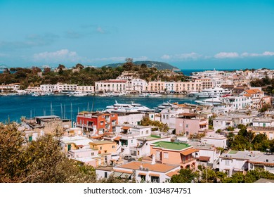 ISCHIA, ITALY - MAY 7:  wide shot of the island main touristic port and it's surroundings on a sunny day on May, 7, 2017.