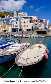 ISCHIA, ITALY, MAY 9 : fishing boats moored at Sant'Angelo on May, 9, 2017. It's a small village within the comune of Serrara Fontana, Ischia, Italy.