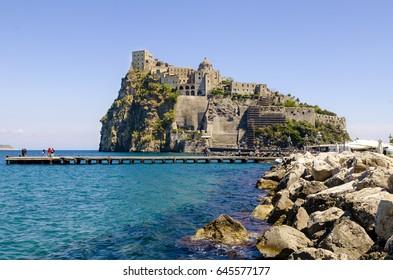 Ischia Ponte with castle Aragonese of the Ischia island, Bay of Naples Italy