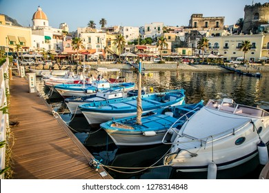 ISCHIA/ITALY - 05 JULY 2018: Marina on the island of Ischia at sunset on a beautiful summer evening. Ischia, Italy