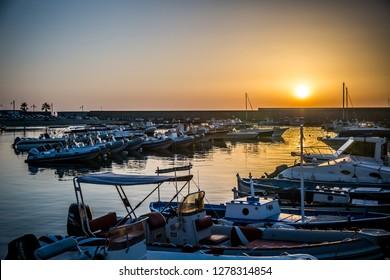 ISCHIA/ITALY - 05 JULY 2018: Marina on the island of Ischia at sunset on a beautiful summer evening. Ischia, Italy